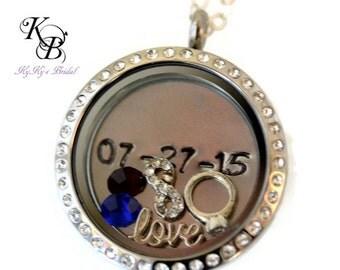 Wedding Locket, Bridal Locket, Anniversary Gift, Bridal Shower Gift, Wedding Jewelry, Infinity Necklace, Wedding Jewelry, Bridal Jewelry