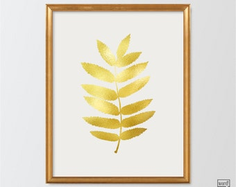 Matte Gold Leaf Print, Botanical Wall Art, Leaf Print, Botanical Print, Gold Wall Decor, Bathroom Decor, Bathroom wall art, Leaves Decor