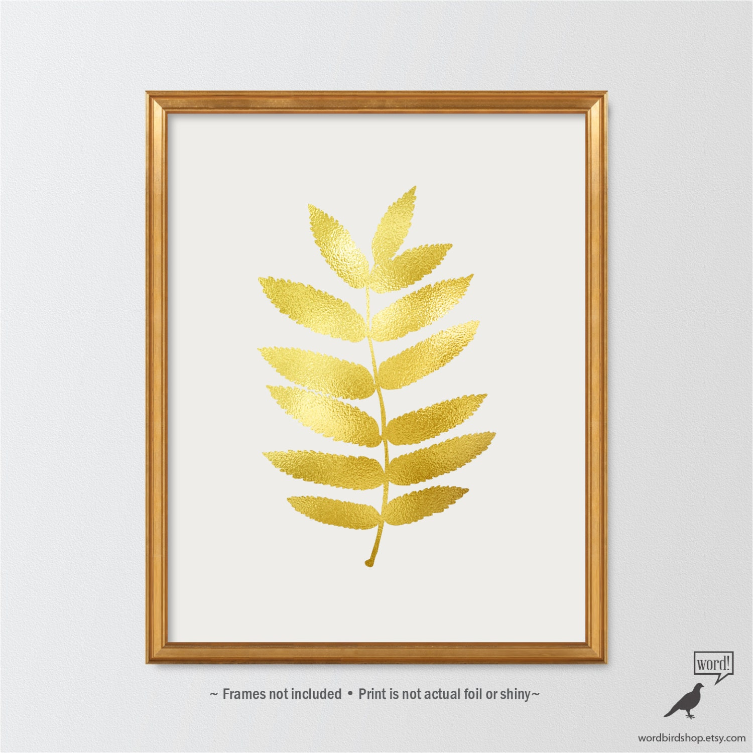 Matte gold leaf print botanical wall art leaf print etsy for Gold wall art