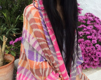Cosy merino wool shawl in happy fluro animal print