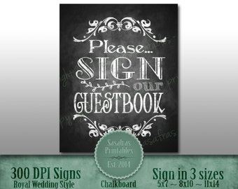 Printable Chalkboard Wedding Guest Book Sign, Please sign our Guestbook, Country, Wedding Sign, Rustic Wedding Sign, Chalkboard Sign, DIY