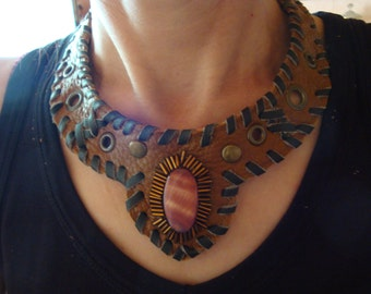 Necklace Choker Leather brown