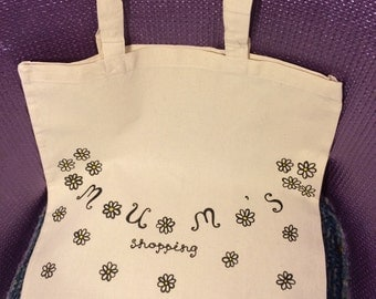 Hand drawn daisy pattern Mum's Shopping eco-friendly canvas tote bag with long handles Mother's Day