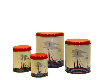 Vintage Nautical Tin Cannister Set featuring Sailboats and Ocean Theme
