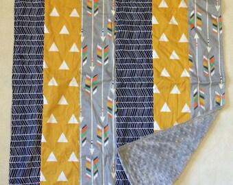Minky Blanket - Arrows and Triangles with Grey Minky