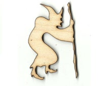 Witch with a Cane Laser Cut Unfinished Wood Shapes  Variety of Sizes Craft  Supply DIY FAL335
