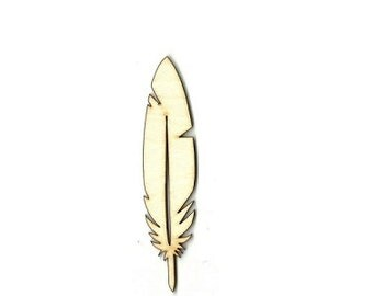 Feather - Laser Cut Out Unfinished  Wood Shape Craft Supply XTR3