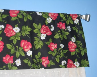 "1"" header 2"" wide rod pocket Handmade Cotton Rose Daisy Floral Window UNLINED VALANCE"