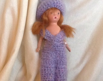 Handmade Purple Overalls and Hat