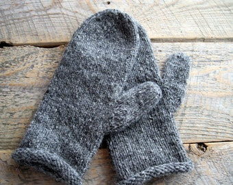 Womens gray mittens, knit mittens, wool winter mittens, warm winter gift, fall cozy, woolen, warm gray knit mittens, knitted woolen mitten