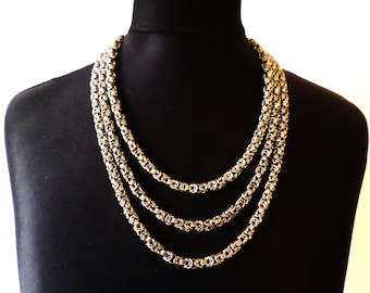 3 Tier Stainless Steel Byzantine Chainmail Necklace - Triple Chain Chainmaille Jewelry