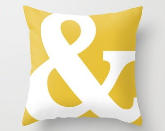 Ampersand Pillow Cover - Typography Throw Pillow - Modern Home Decor - Mustard Yellow - By Aldari Home