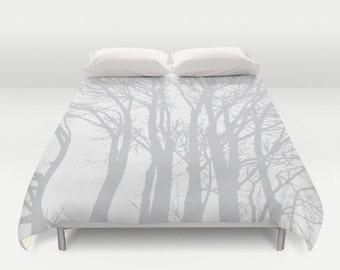 Modern Trees Duvet Cover - Grey and White - Tree Branches - Woodland - Rustic - Queen Size Duvet Cover - King Size Duvet Cover