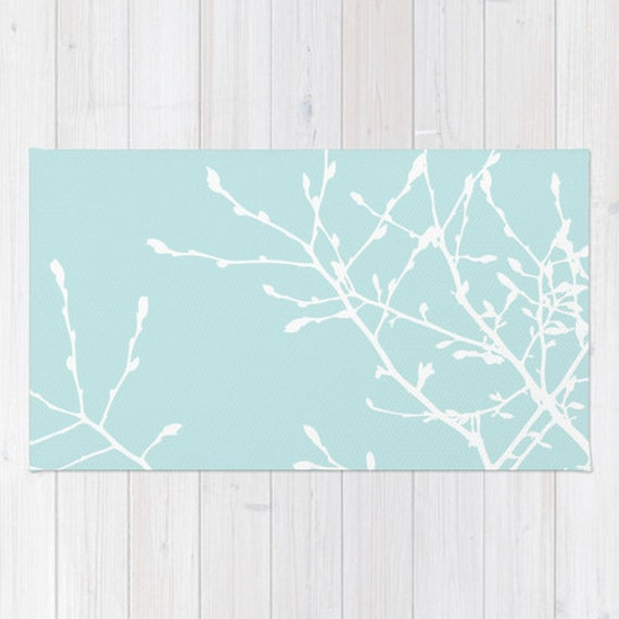 Modern Nature Rug: Light Blue Tree Branches Area Rug Modern Nature Area Rug
