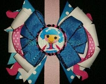 Blue white pink la la loopsy bow