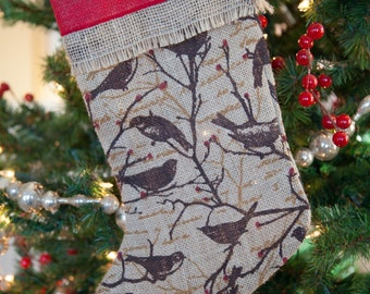 Burlap Stocking  Burlap Christmas Stocking Polka Dot Christmas Stocking