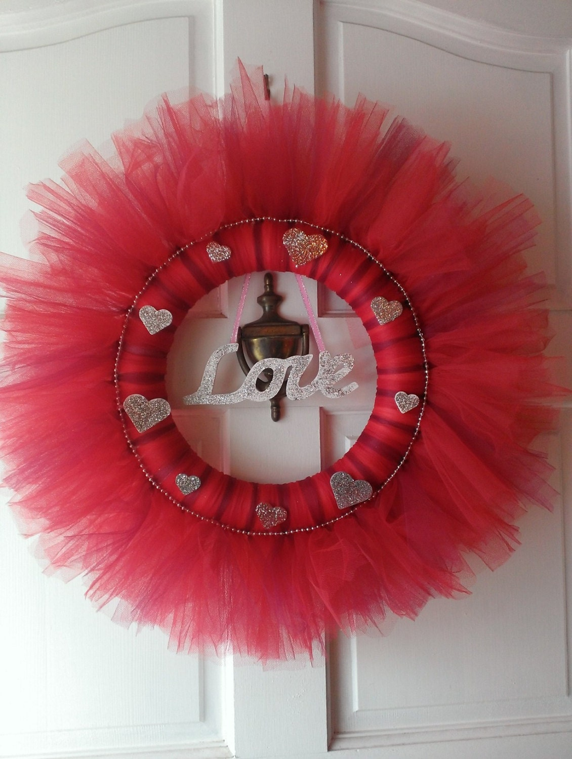 Red tulle wreath valentines day wreath for Valentines jewelry dallas pa