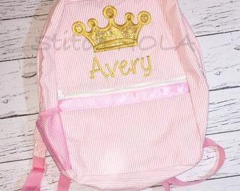 Gold Princess Crown Seersucker Backpack/Diaper Bag, Seersucker Diaper Bag, Seersucker School Bag, Seersucker Bag, Diaper Bag, School Bag, Bo