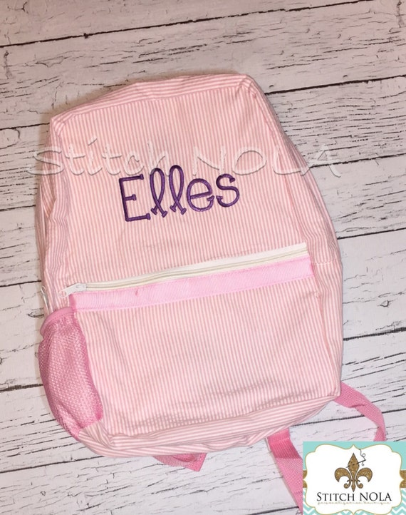 Seersucker Backpack with Name or Monogram, Seersucker Diaper Bag, Seersucker School Bag, Seersucker Bag, Diaper Bag, School Bag, Book Bag, B