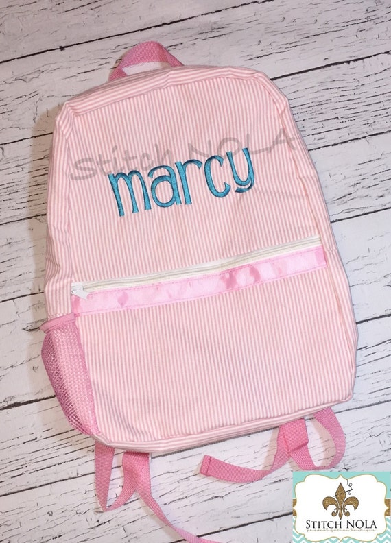 Seersucker Monogrammed Backpack, Seersucker Diaper Bag, Seersucker School Bag, Seersucker Bag, Diaper Bag, School Bag, Book Bag, Backpack