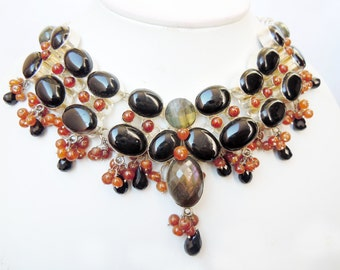 92.5 Silver plated Labrodorite and Black onyx Natural stone beads necklace
