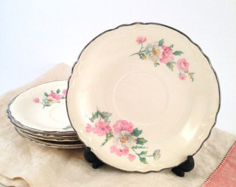 Homer Laughlin Pattern R3543 Set of Five Saucers with Pink & White Flowers Circa 1935