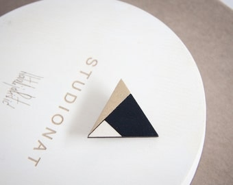 ON SALE 40%, Triangle wooden brooch, black, gold and nature wood, laser cut wood, hand painted with acrylic colors, eco frendly