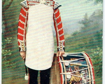 Old British Postcard - Tucks Military Series of 1903 - The Grenadier Guards. Bass  Drummer in Review Order