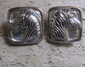 Zebra Silver Tone Pierced Earrings Square Zebra Head Earrings