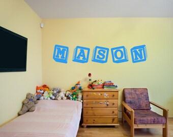 Mason Baby Blocks Girls Name Interior Children's Room Wall Vinyl Decal