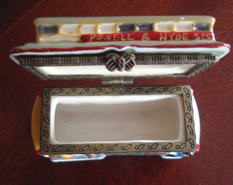 San Francisco Trolley Ceramic Trinket Box Powell & Hyde Sts Number 24 Collectible Box L1583