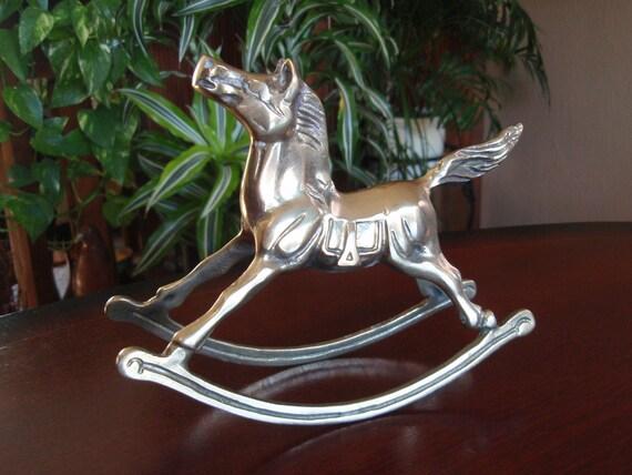 Brass Rocking Horse Collectible Home Decor Figure Figurine
