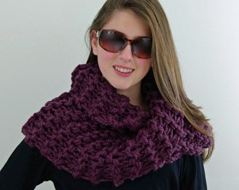 Hand-knitted Chunky Twisted Infinity Cowl Scarf in Fig Purple