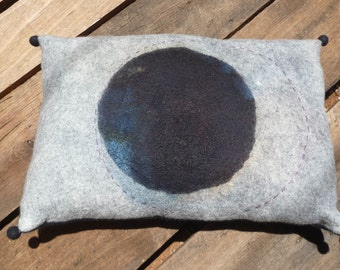 One-of-a-kind cushion, hand stitched, abstract, felted, wool