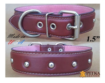 Wide Leather Dog Collars - Studded Collars - Soft Leather Dog Collars - Plain Dog Collars 1.5 inch wide - Leather Dog collars for Large Dogs