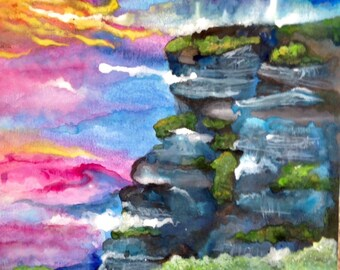 Beyond the Ocean Cliff. Original Watercolor Painting, Unframed 12x18 with Blue, Green, Pink. Add Custom Quote or Saying
