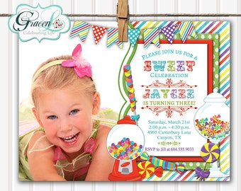 Candy Invitation, Sweet Shop Invitation, Candyland Invitation, Sweet Shoppe Invitation, Candy Birthday Invitation, Candy Land Invitation