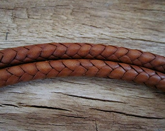6mm - 42 Inch Handmade Artisan New Mexico Saddle Brown Braided Leather Cord