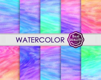 Watercolor Digital Paper  in Bright Colors, Instant Download, 10 printable digital papers suitable for scrapbooking, cards  * Commercial use