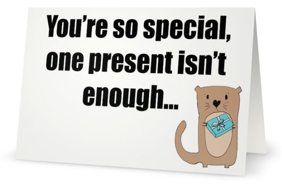 Present Otter Pun Funny Cartoon Greeting Christmas Holiday Chanukah Card