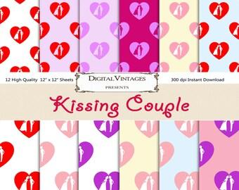 Kising Couple digital paper, Kiss background paper, Love digital paper, printable paper, Valentine's Day Paper, Wedding background paper