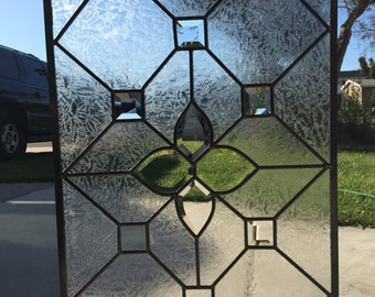 Leaded  Beveled Stained Glass Window Panel