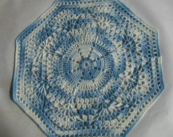Shaded blue, Octagonal Doily