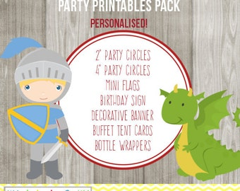 KNIGHTS AND DRAGON Party Printables Pack - Digital