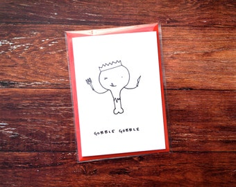 Gobble gobble - Christmas turkey hand drawn card