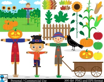 Scarecrow Set Clipart - Digital Clip Art Graphics, Personal, Commercial Use - 39 PNG images (00047)