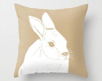 Rabbit Pillow, Rabbit Illustration Pillow, Neutral Pillow, Bunny Pillow, Neutral Animal Pillow, Beige Pillow, Rustic Pillow, choose color