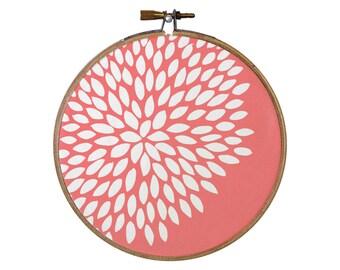 Flower Hoop Art, Dahlia Hoop Art, Nursery Hoop Art, Coral Pink Hoop Art, Dahlia Illustration, 5 inch hoop art, Dahlia print, choose color