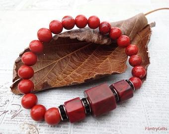 Red brick jasper stretch bracelet - red jasper jewelry - red jasper bracelet