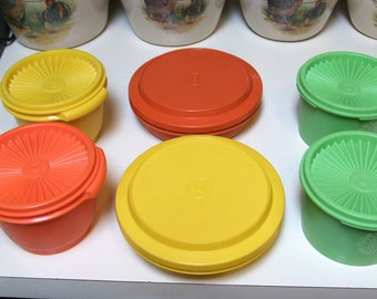 Vintage Lot of Tupperware Servalier Harvest Yellow Orange Apple Green Push Seal Containers 1297 886 Seal N Serve Bowls Canisters 1206 w Lids